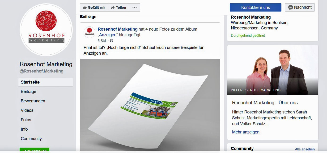 Facebook Unternehmensseite Rosenhof Marketing