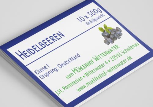 Aufkleber für die Heidelbeeren vom Mühlenhof Wittenwater / Johannes-Hermann Pommerien